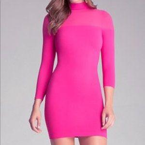 Bebe sheer shoulder mock neck dress